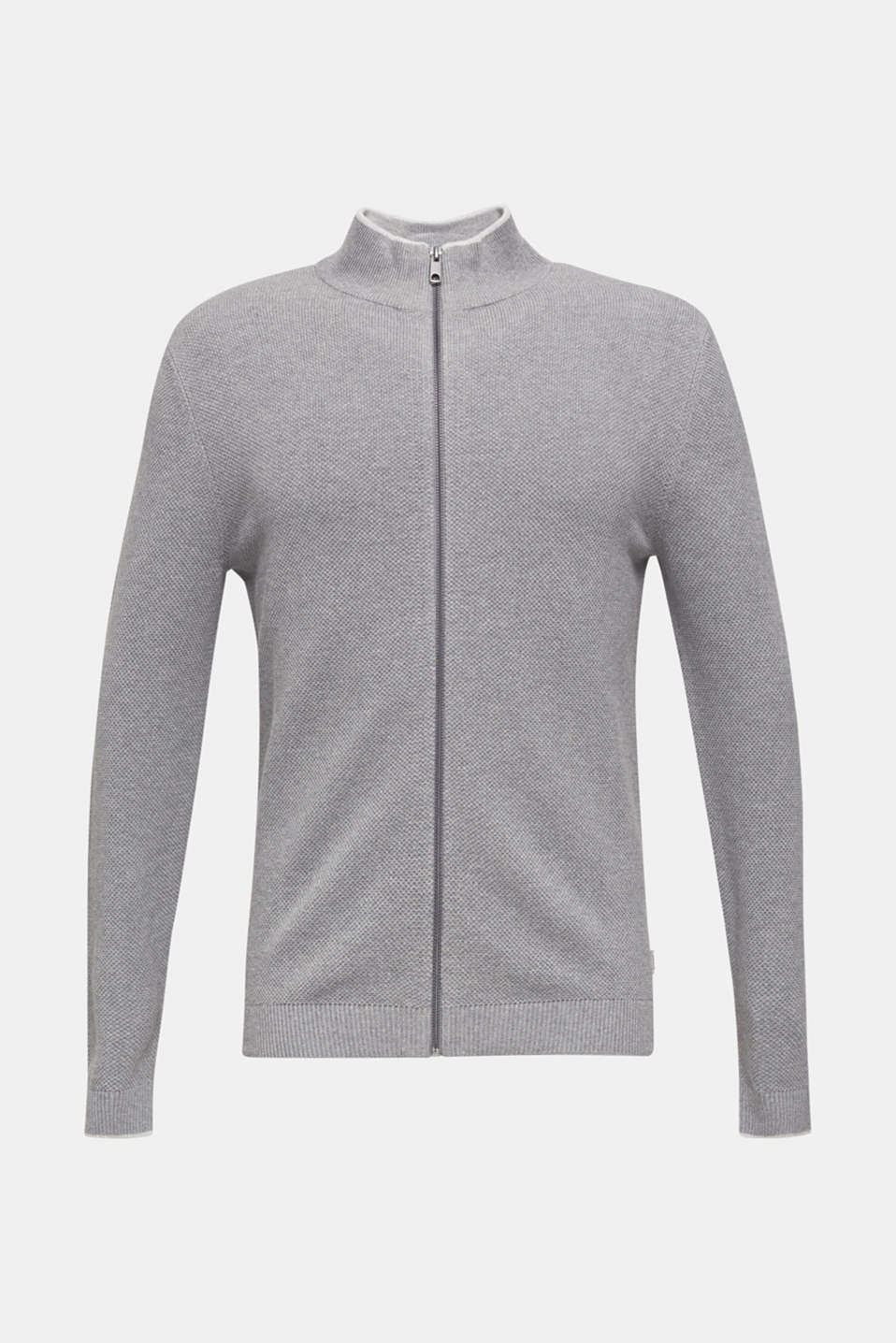 Textured cardigan in 100% cotton, MEDIUM GREY 5, detail image number 6