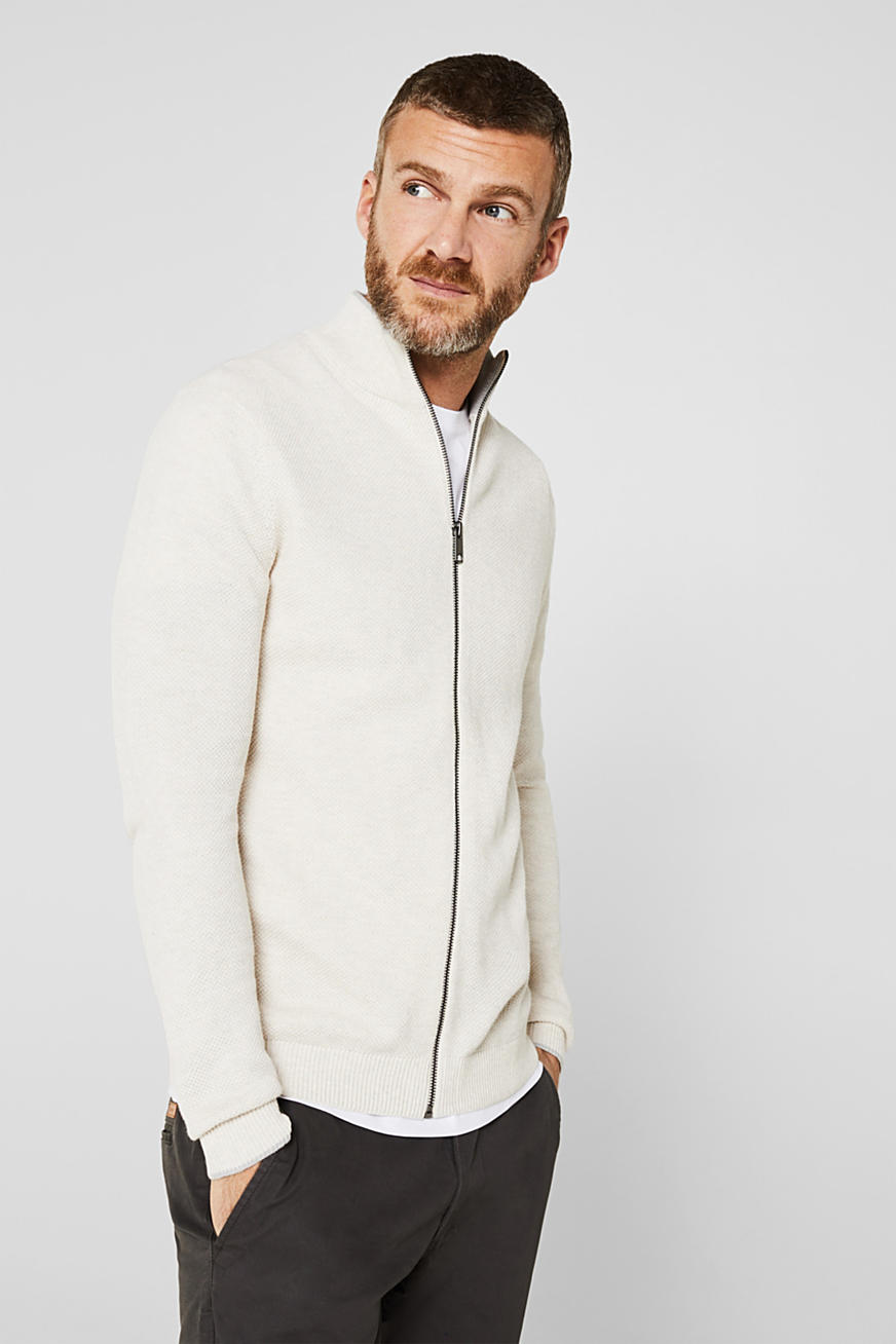 Textured cardigan in 100% cotton