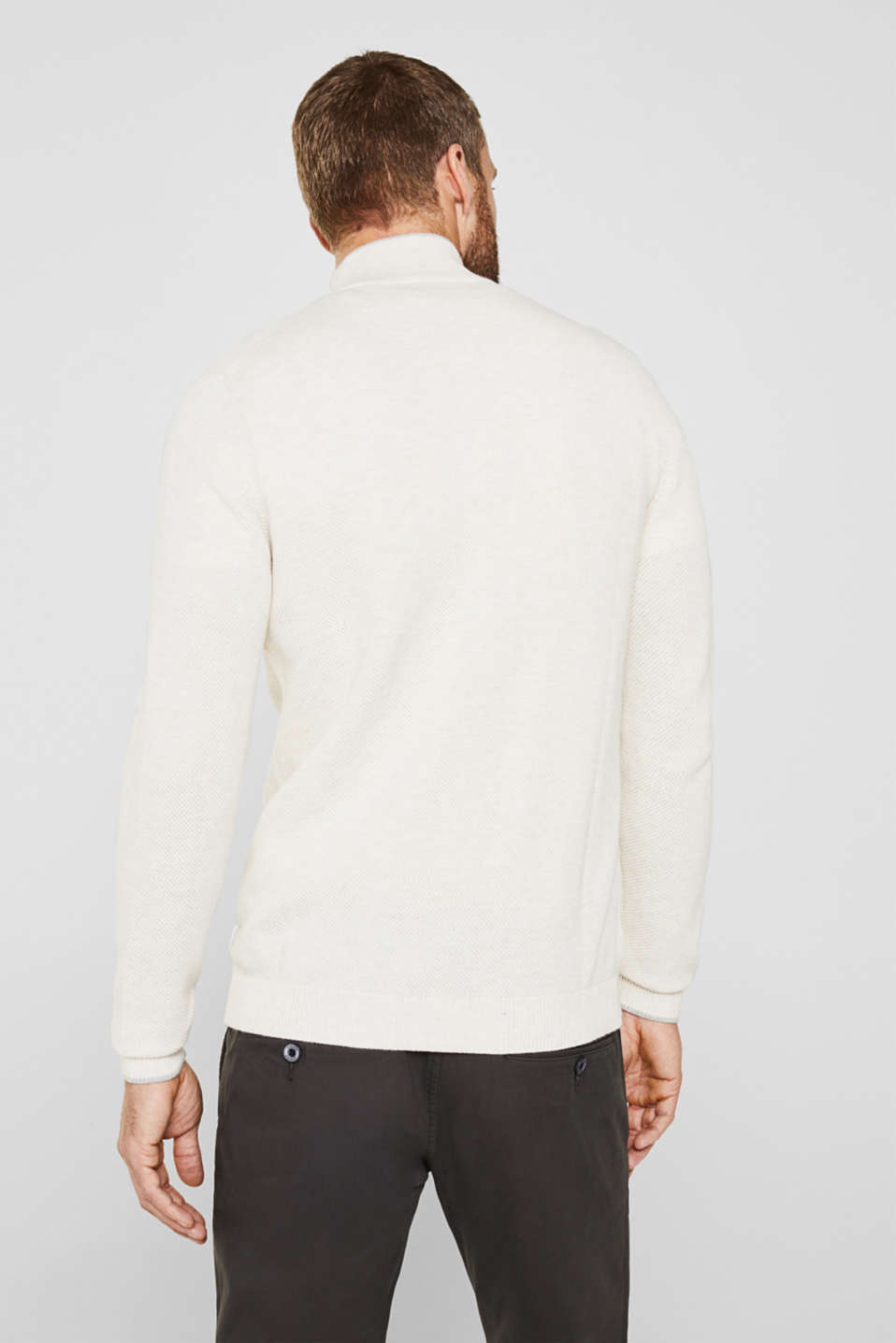 Textured cardigan in 100% cotton, OFF WHITE 5, detail image number 3