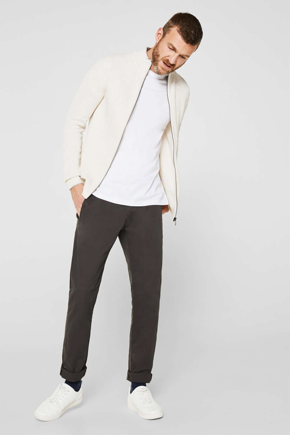 Textured cardigan in 100% cotton, OFF WHITE 5, detail image number 1