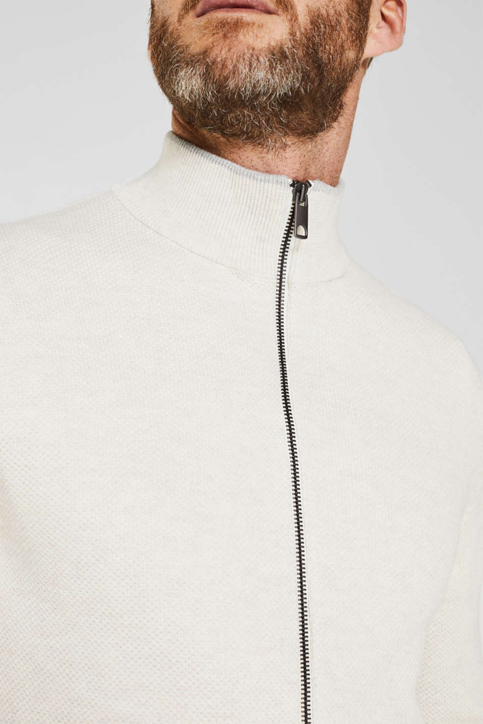 Textured cardigan in 100% cotton, OFF WHITE 5, detail image number 2