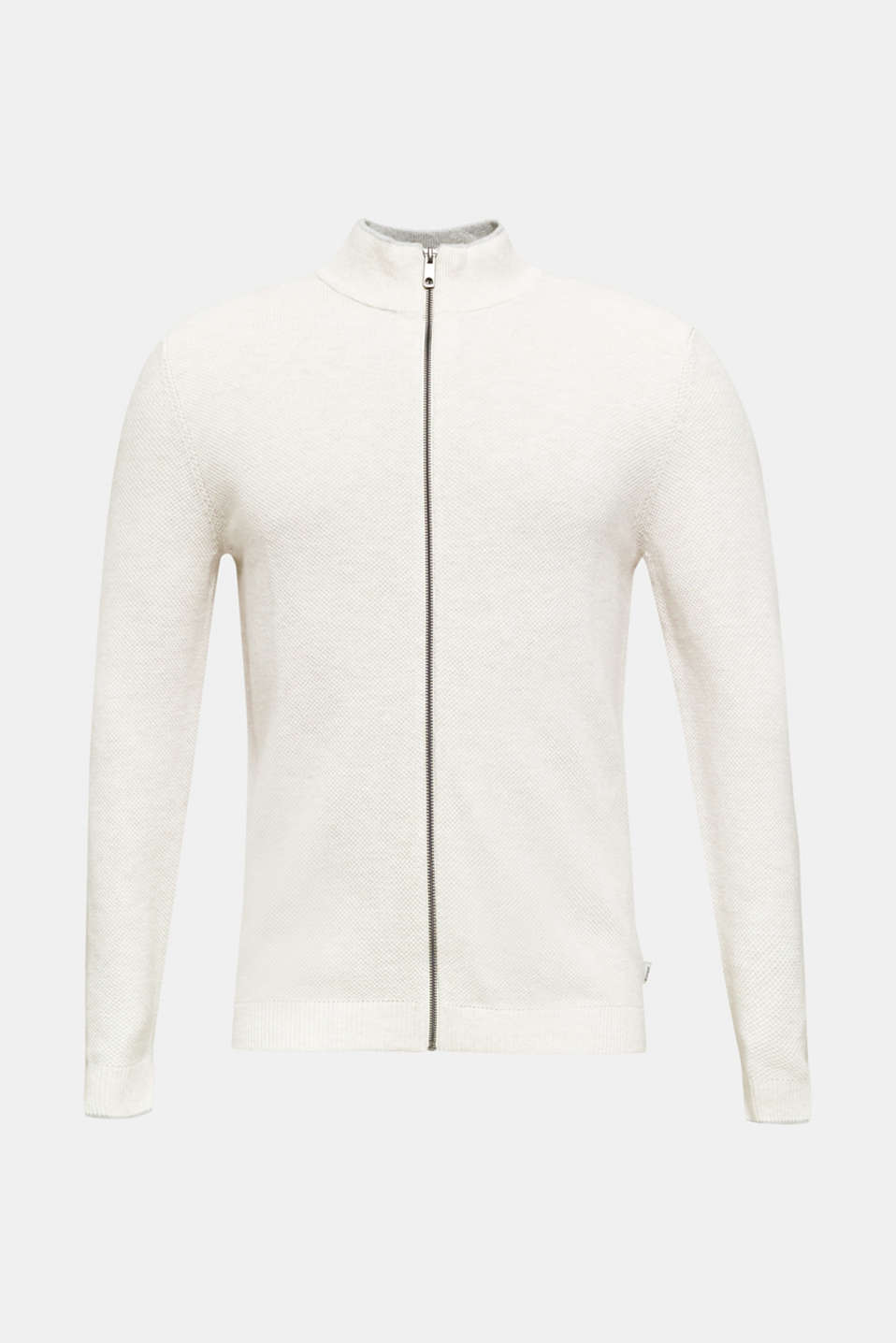 Textured cardigan in 100% cotton, OFF WHITE 5, detail image number 6
