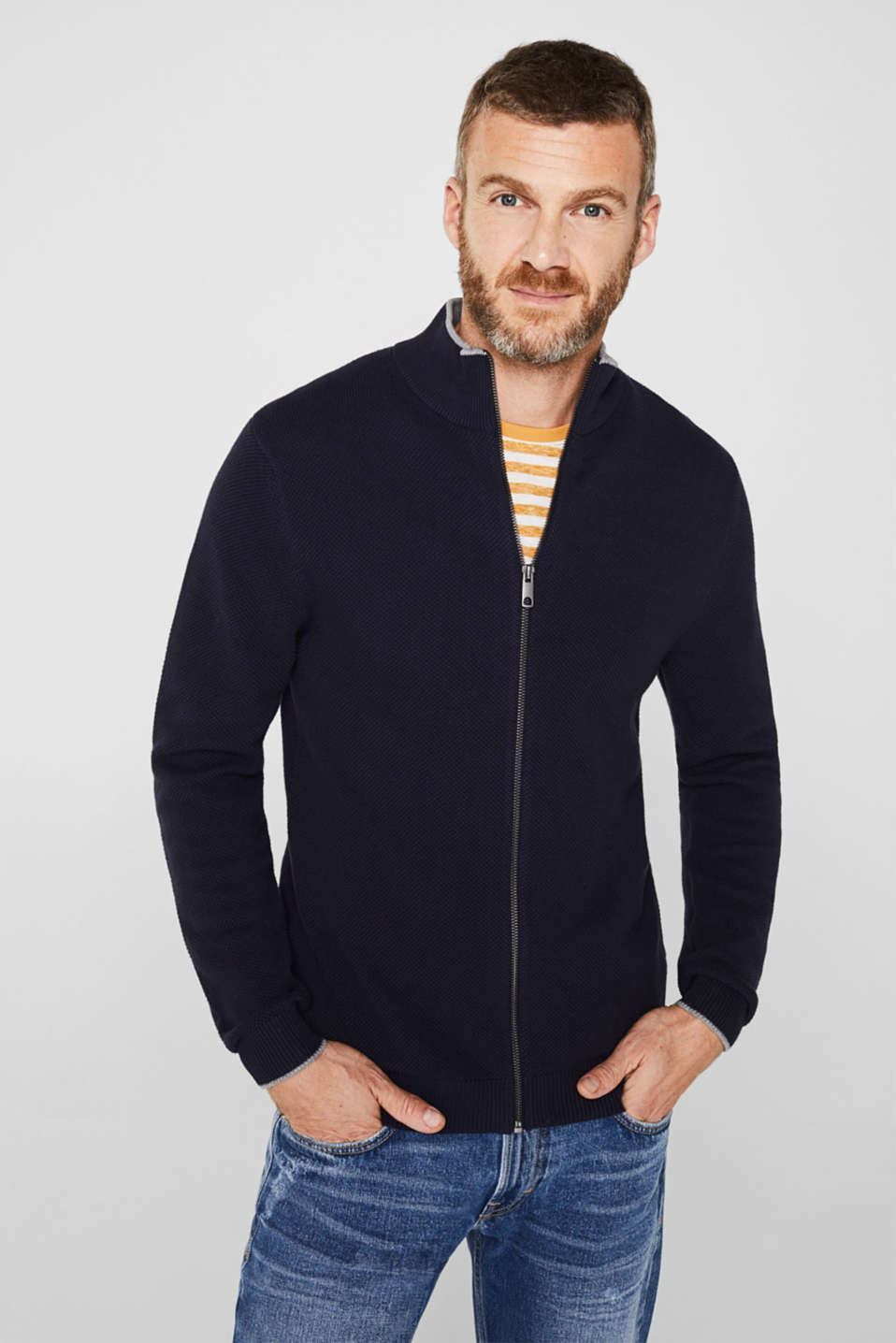 Textured cardigan in 100% cotton, NAVY, detail image number 0