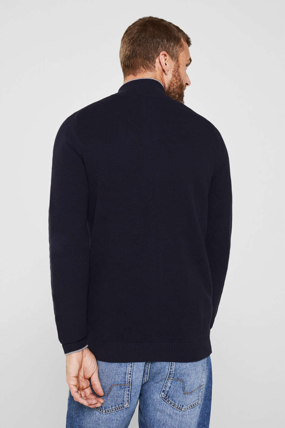 Textured cardigan in 100% cotton, NAVY, detail image number 3