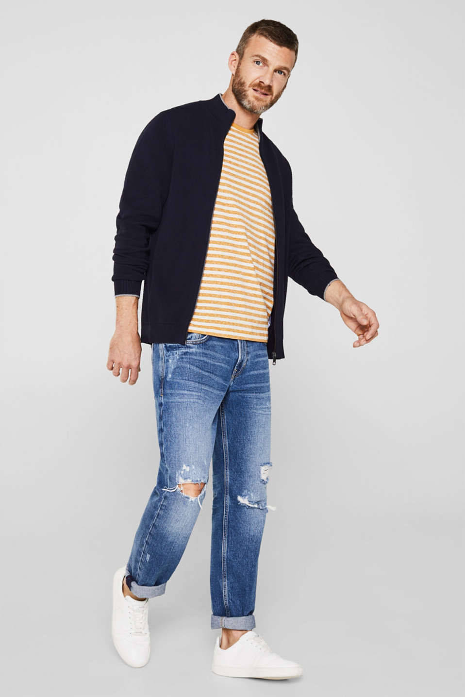 Textured cardigan in 100% cotton, NAVY, detail image number 1