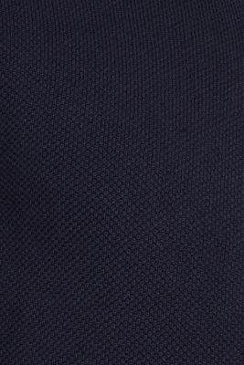 Textured cardigan in 100% cotton, NAVY, detail