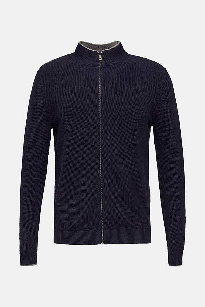 Gestructureerd vest van 100% katoen, NAVY, detail image number 0