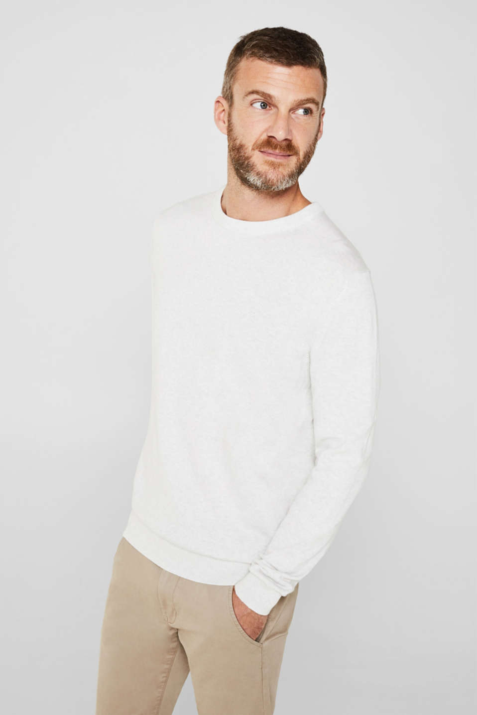 Basic jumper in 100% cotton, LIGHT GREY 5, detail image number 0