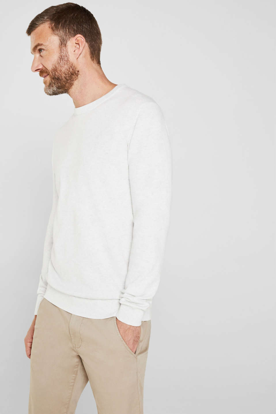 Basic jumper in 100% cotton, LIGHT GREY 5, detail image number 6