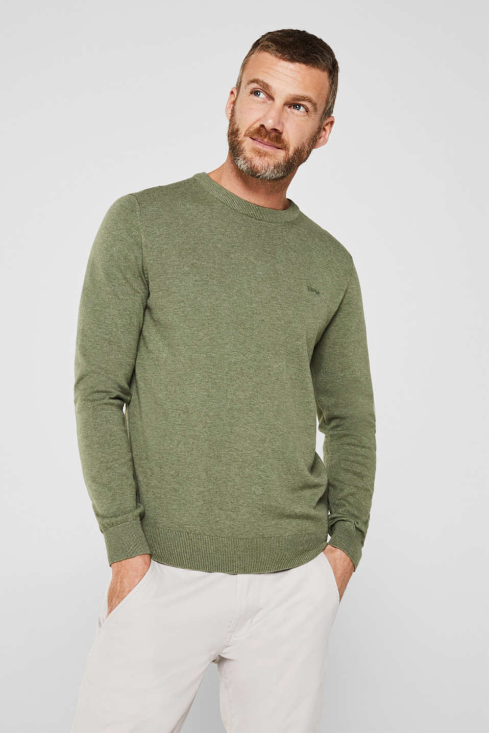 Esprit - Basis-sweater i 100% bomuld