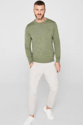 Basic jumper in 100% cotton, LIGHT KHAKI 5, detail