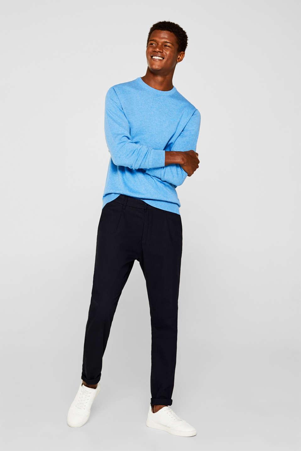 Basic jumper in 100% cotton, BRIGHT BLUE 5, detail image number 1