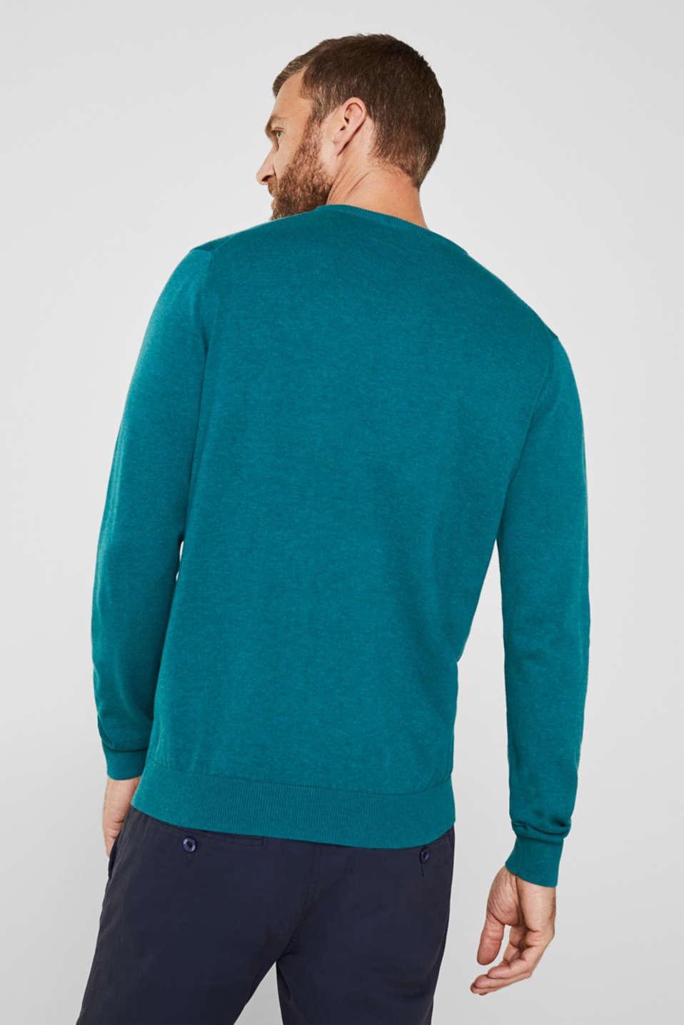 Basic jumper in 100% cotton, TEAL BLUE 5, detail image number 3