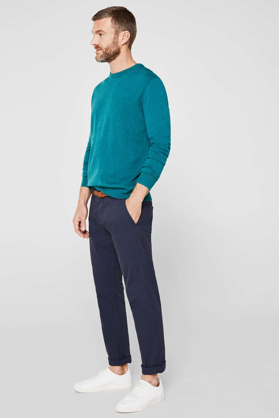 Basic jumper in 100% cotton, TEAL BLUE 5, detail image number 7