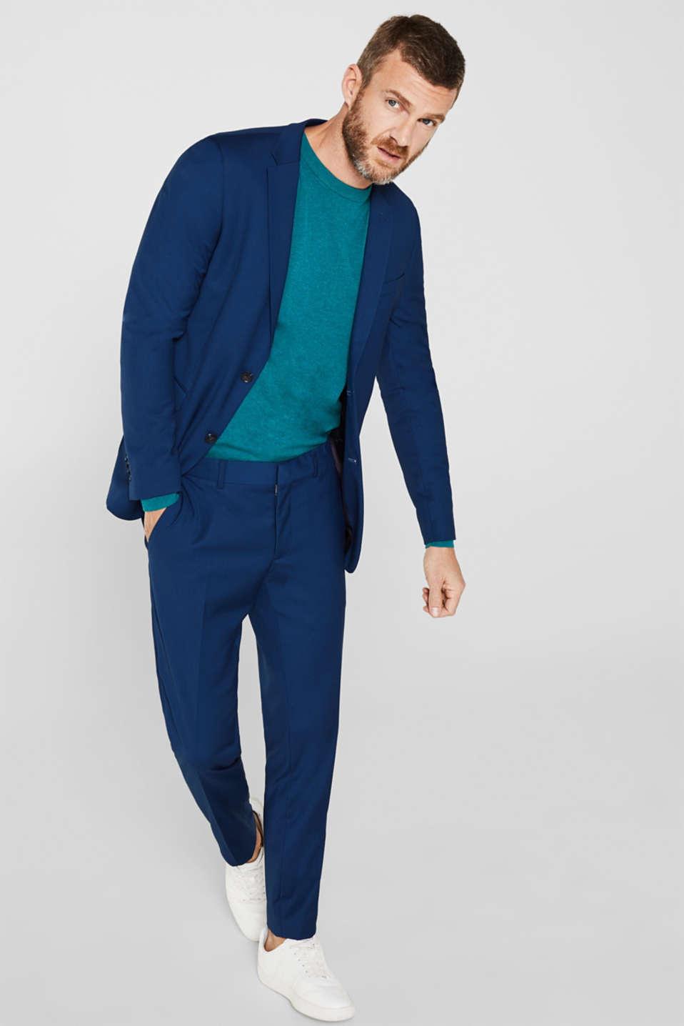 Basic jumper in 100% cotton, TEAL BLUE 5, detail image number 1