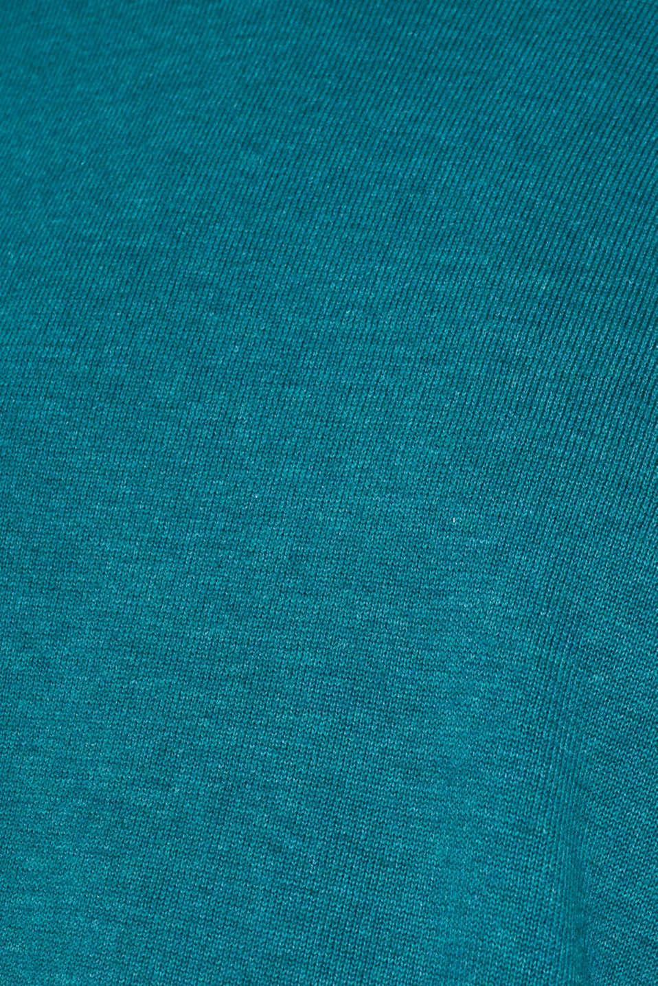 Basic jumper in 100% cotton, TEAL BLUE 5, detail image number 4