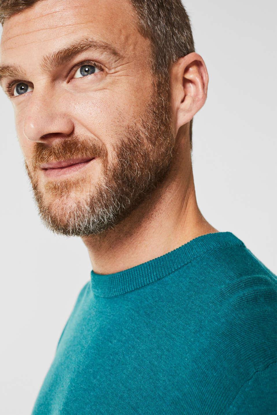 Basic jumper in 100% cotton, TEAL BLUE 5, detail image number 5