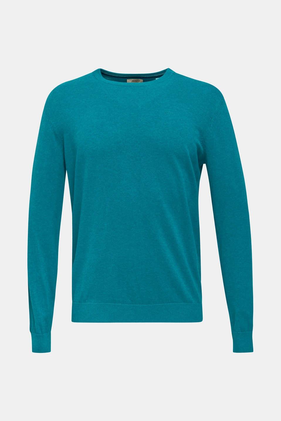 Basic jumper in 100% cotton, TEAL BLUE 5, detail image number 6