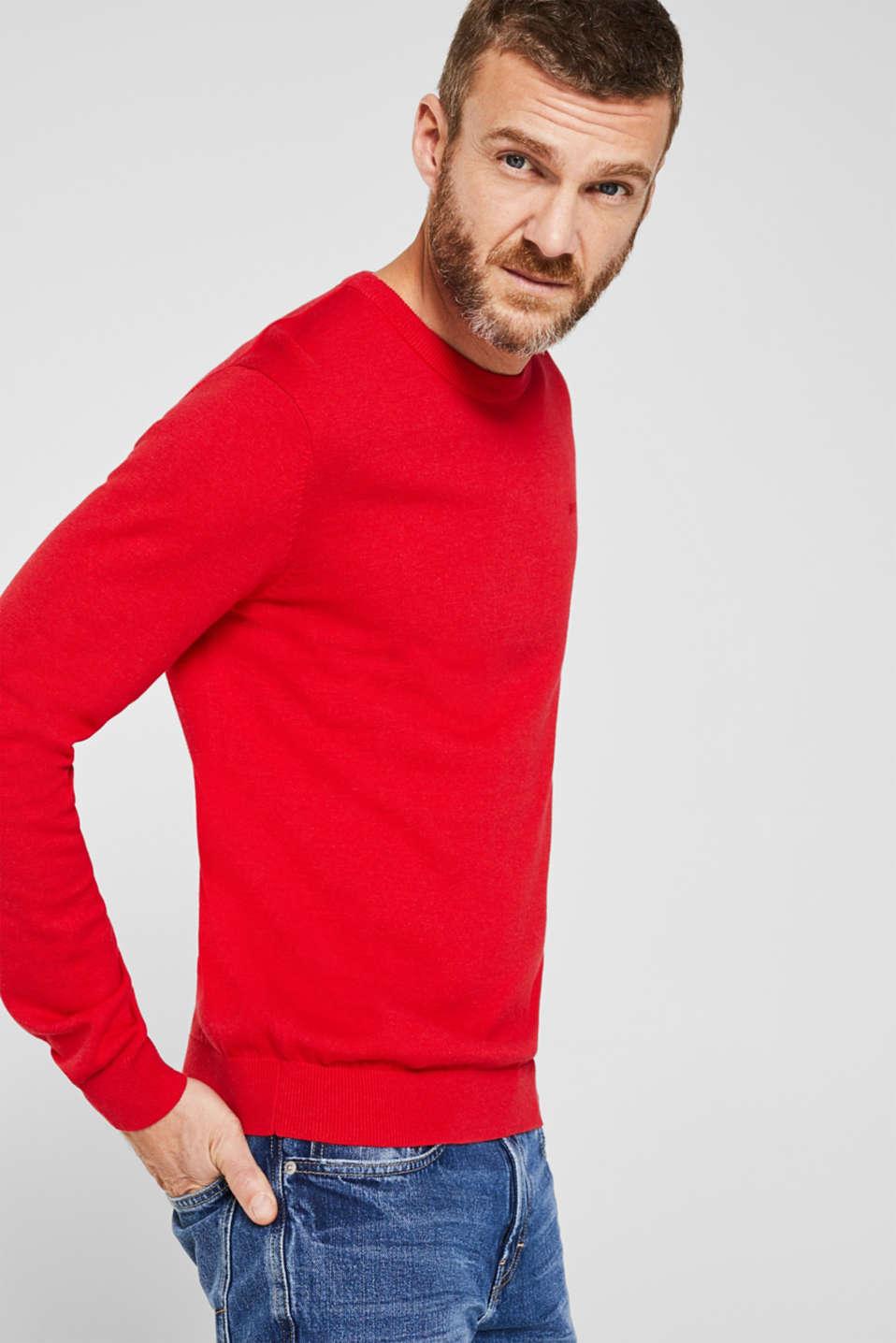 Basic jumper in 100% cotton, RED, detail image number 0