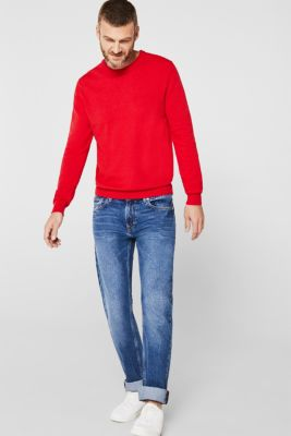 Basic jumper in 100% cotton, RED, detail