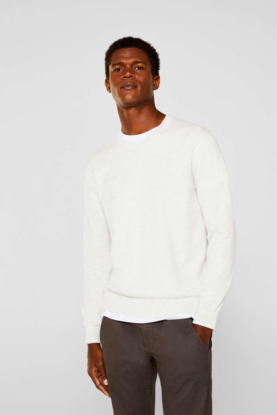 Basic jumper in 100% cotton, LIGHT GREY 5, detail image number 0