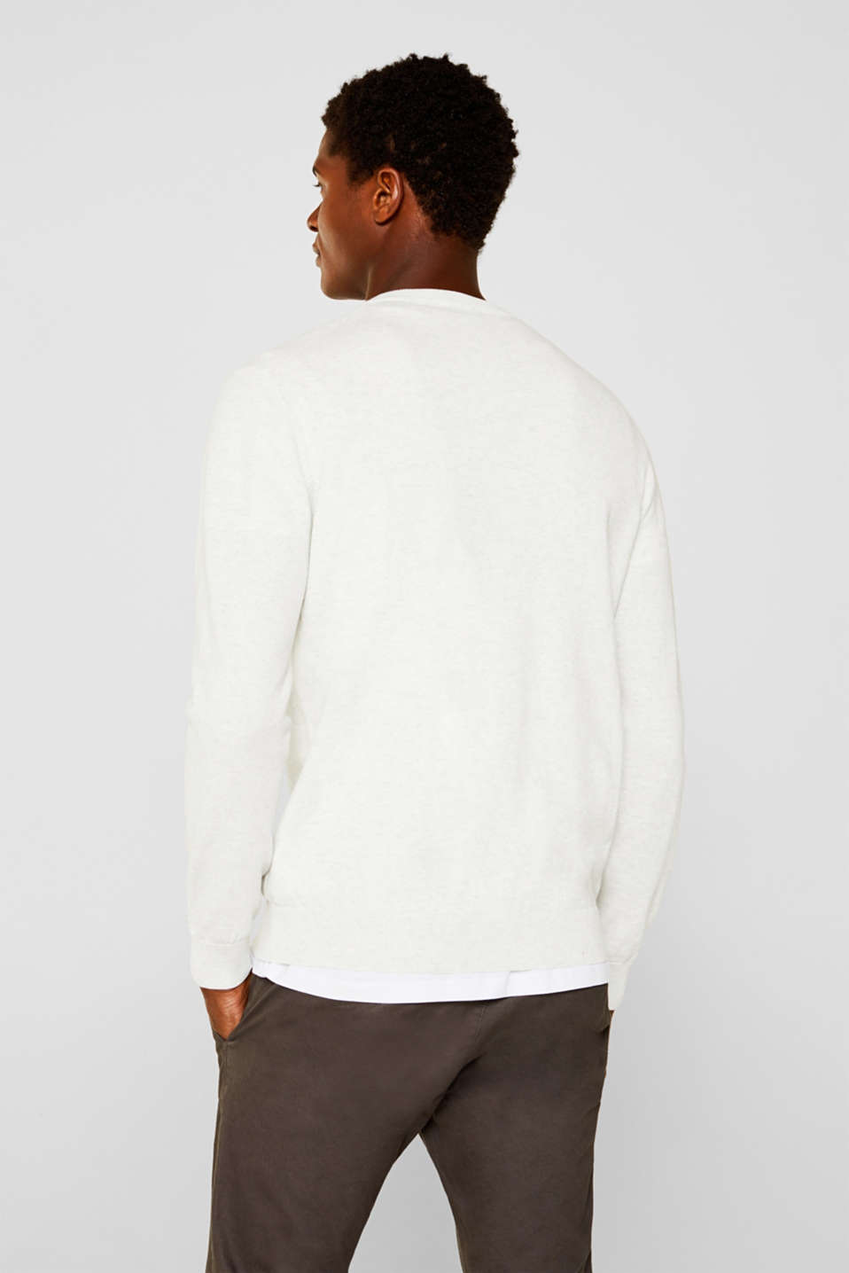 Basic jumper in 100% cotton, LIGHT GREY 5, detail image number 3