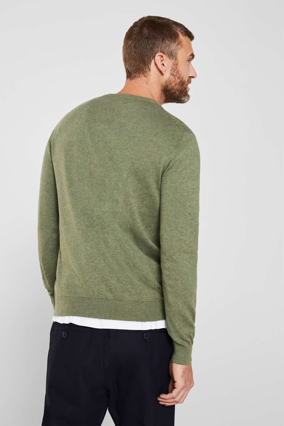 Basic jumper in 100% cotton, LIGHT KHAKI 5, detail image number 3