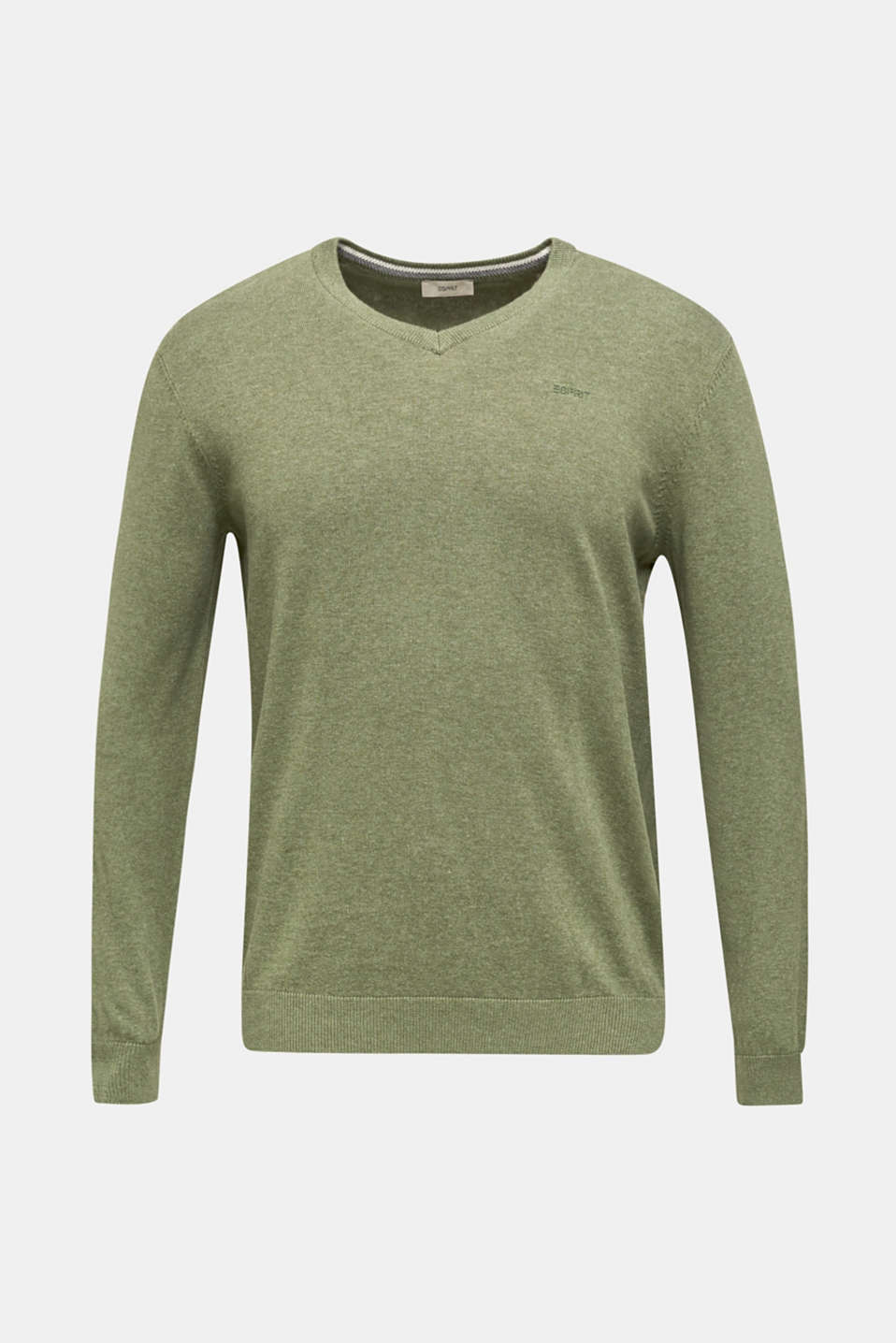 Basic jumper in 100% cotton, LIGHT KHAKI 5, detail image number 5