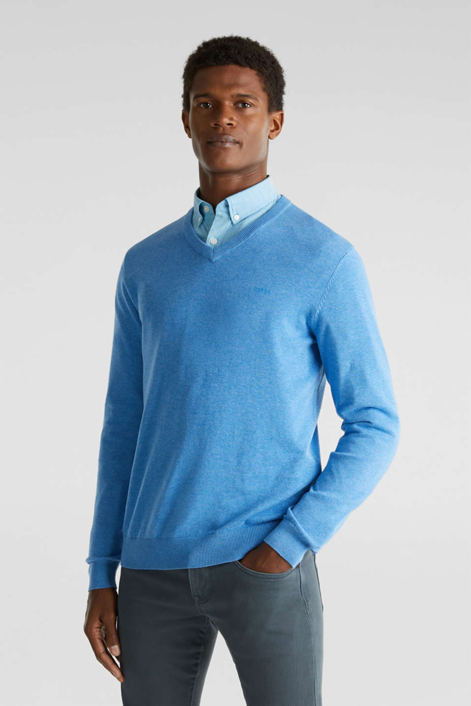 Basic jumper in 100% cotton, BRIGHT BLUE 5, detail image number 0