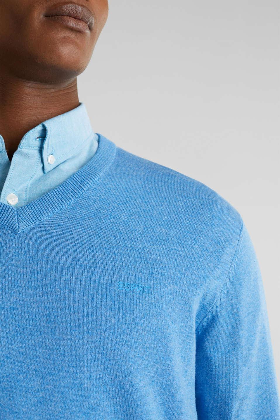 Basic jumper in 100% cotton, BRIGHT BLUE 5, detail image number 2