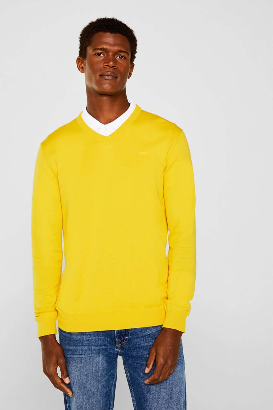 Basic jumper in 100% cotton, YELLOW, detail image number 0