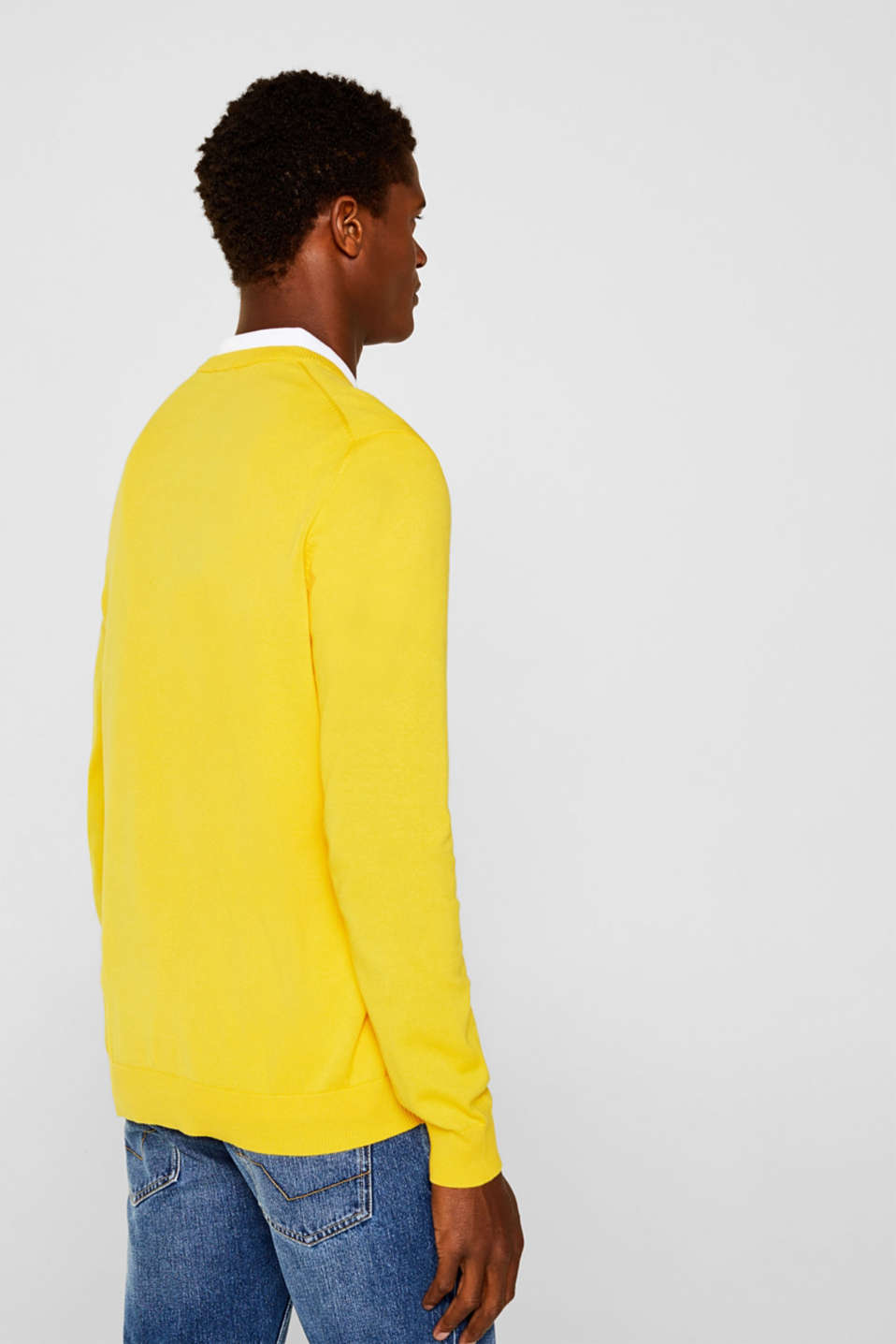 Basic jumper in 100% cotton, YELLOW, detail image number 2