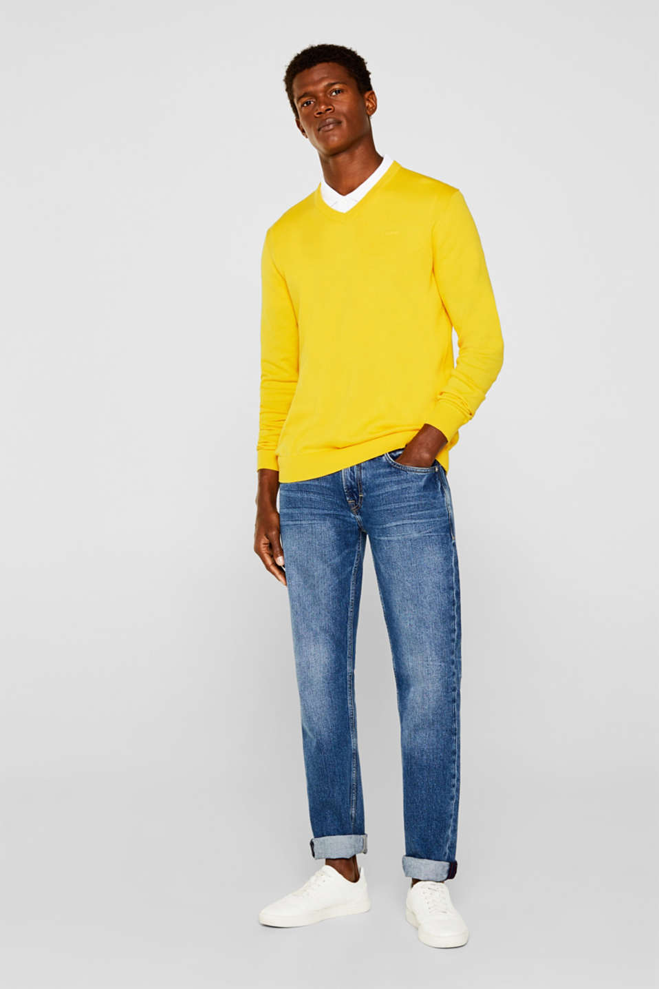 Basic jumper in 100% cotton, YELLOW, detail image number 1