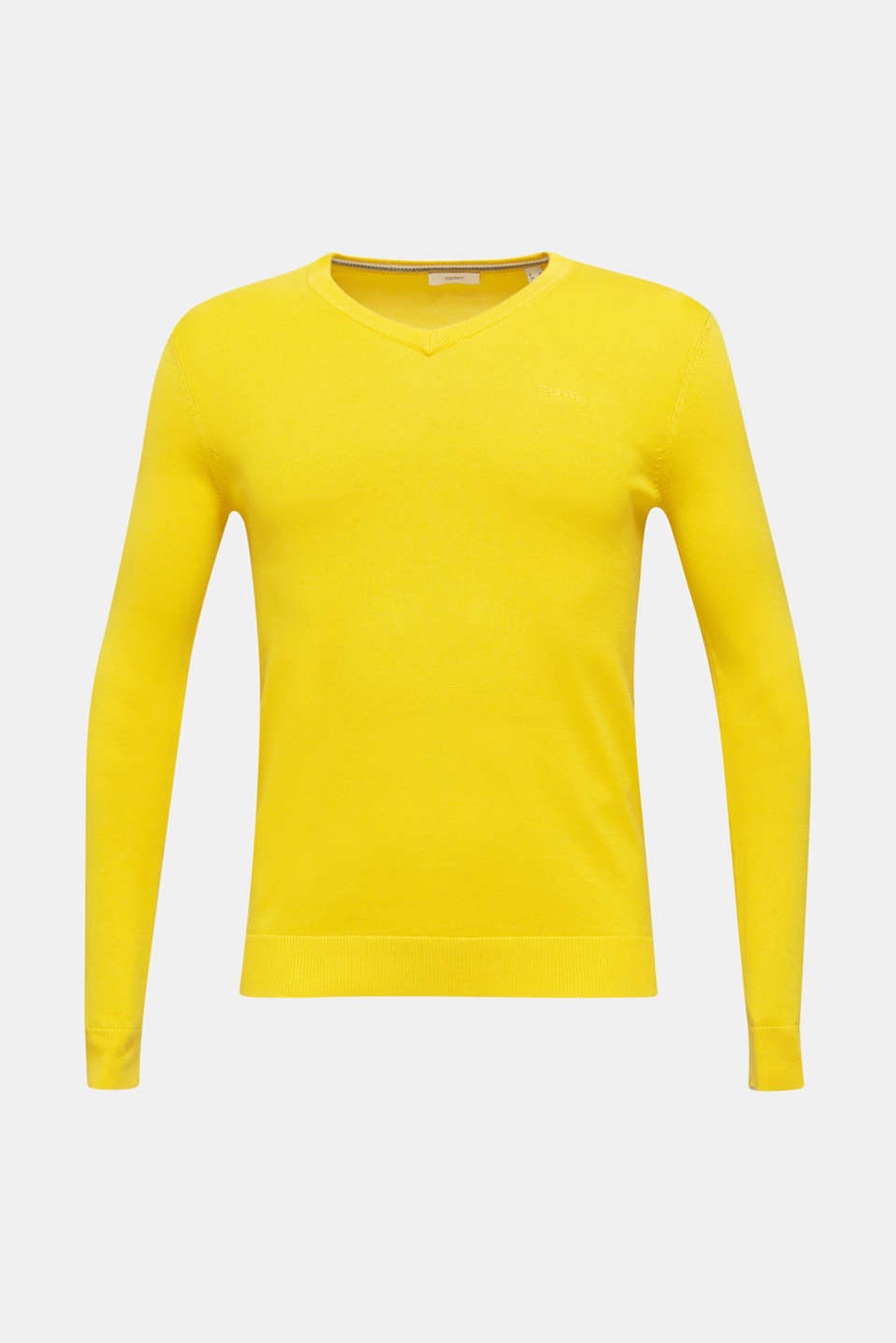 Basic jumper in 100% cotton, YELLOW, detail image number 5