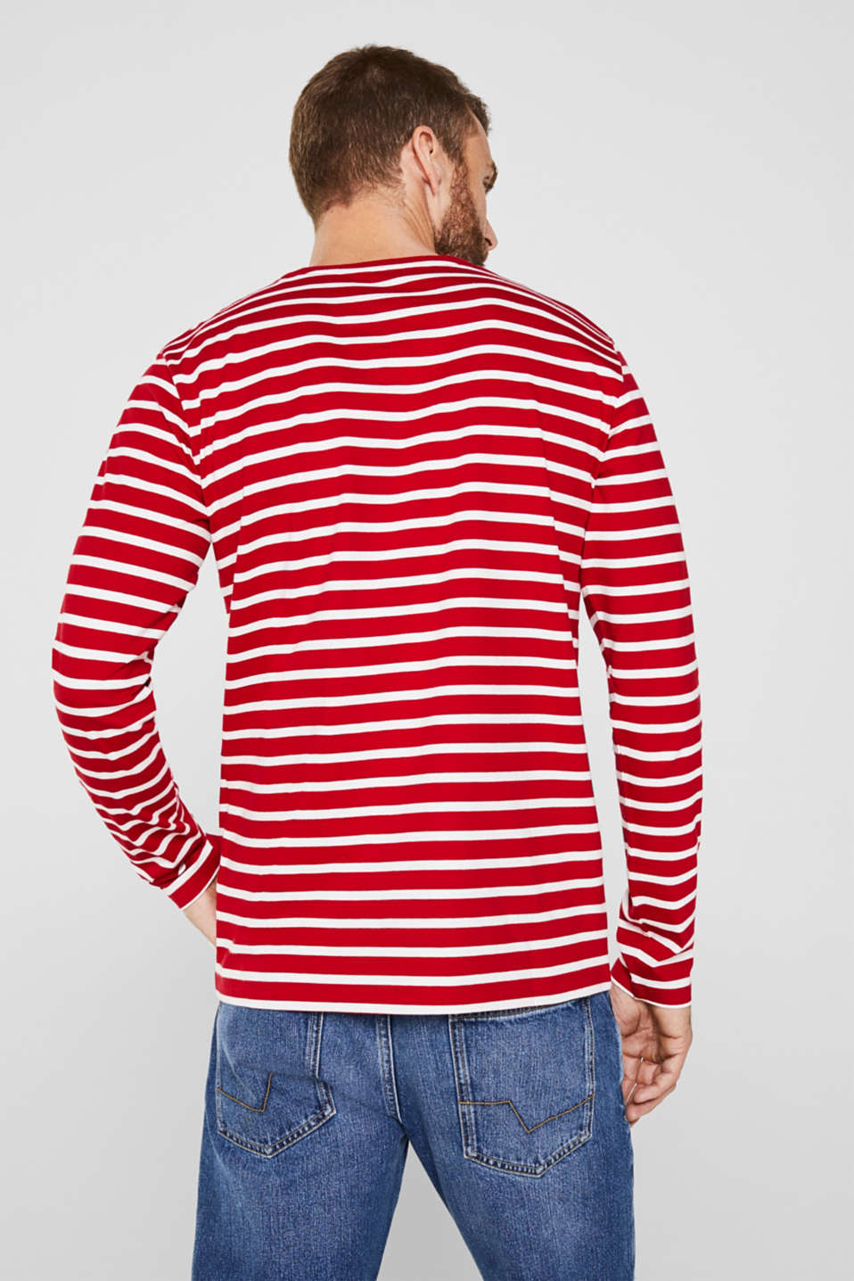 Long sleeve jersey top in 100% cotton, RED 3, detail image number 2