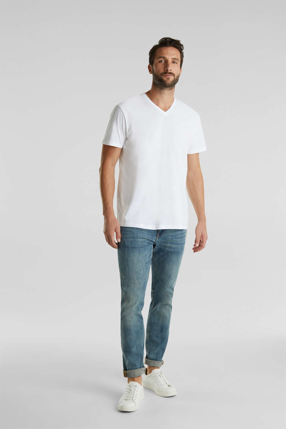 Double pack of jersey T-shirts made of 100% cotton, WHITE, detail image number 1