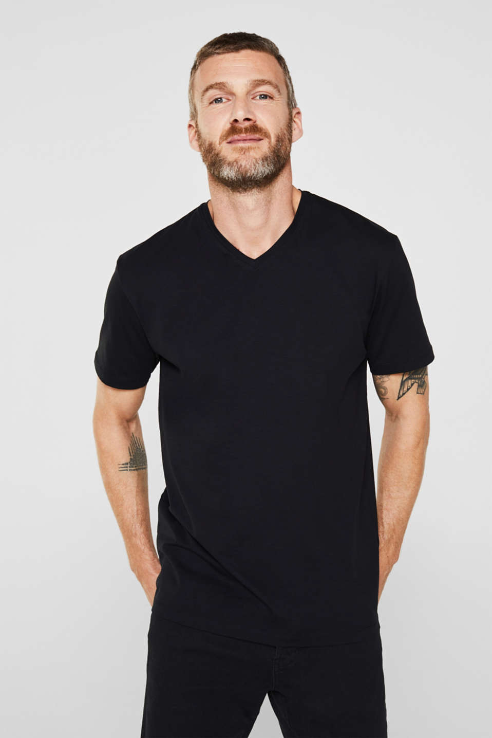 Jersey T-shirt in stretch cotton, BLACK, detail image number 0