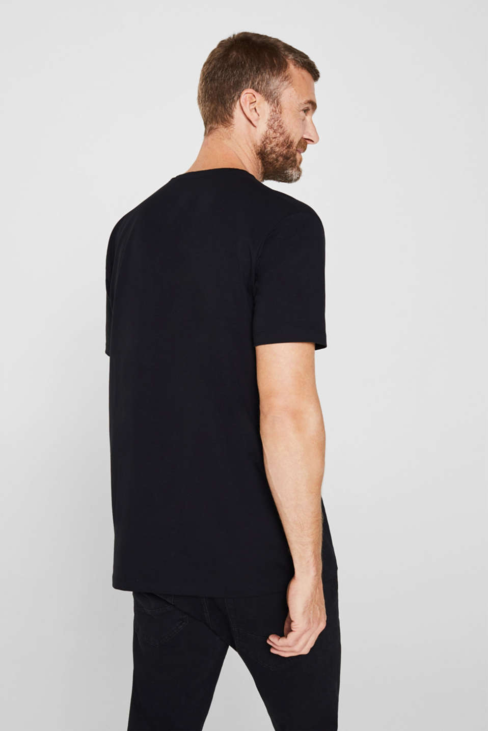 Jersey T-shirt in stretch cotton, BLACK, detail image number 3
