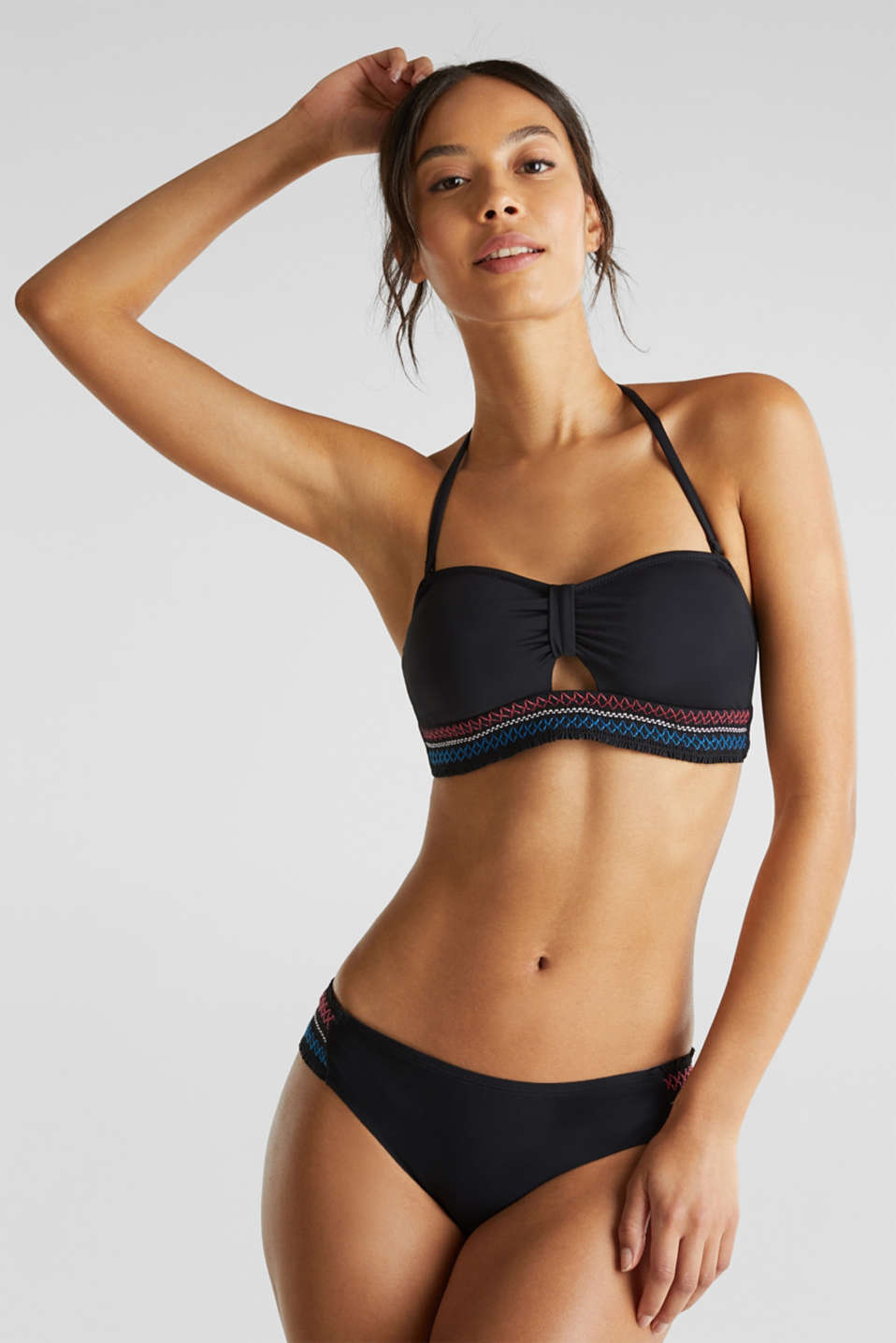 Padded bandeau top with detachable straps, BLACK, detail image number 0