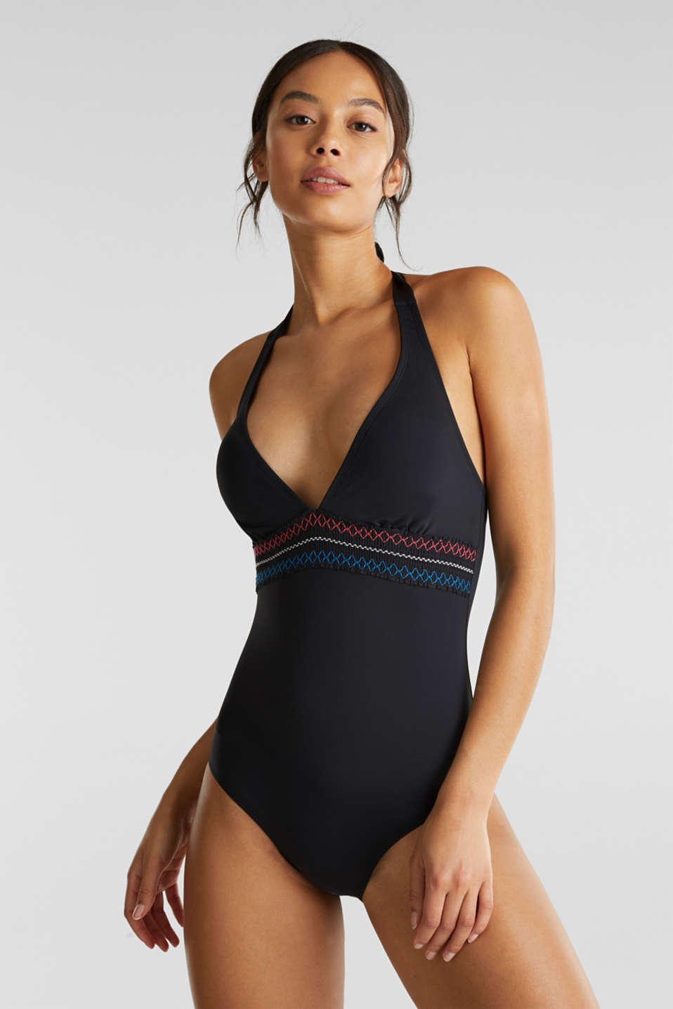 Padded swimsuit with embroidery, BLACK, detail image number 0