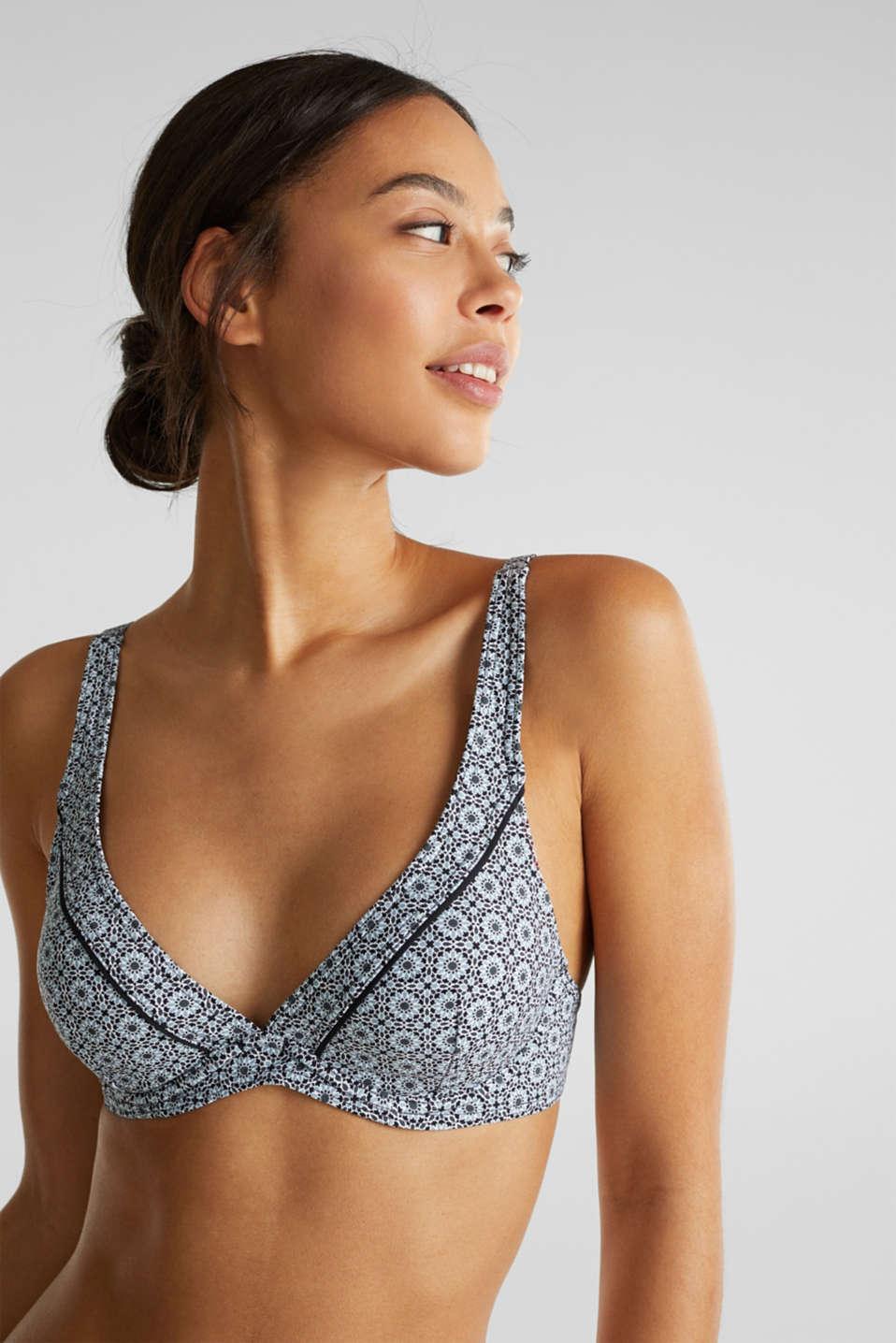 Printed, unpadded underwire bikini top