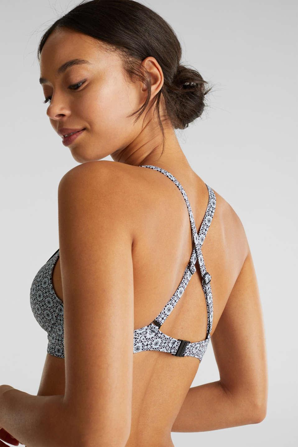 Printed, unpadded underwire bikini top, BLACK, detail image number 1