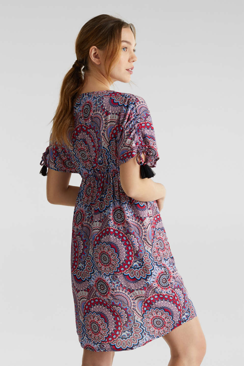 Casual dress with tassels, BLACK, detail image number 1