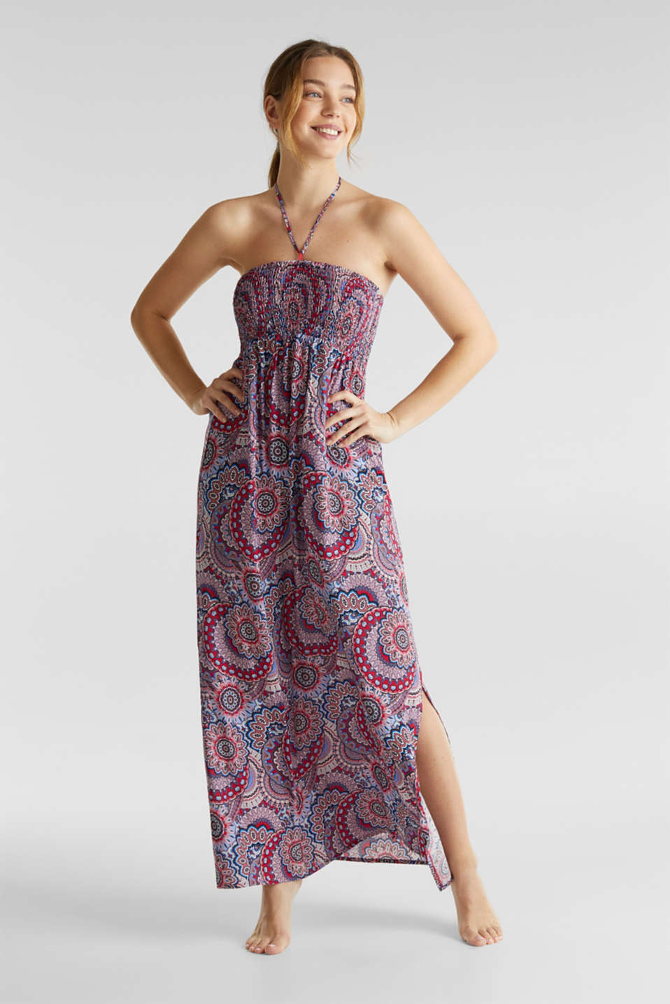 Esprit - Maxi dress with a smock bodice