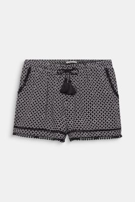 Woven shorts with lace details, BLACK, detail