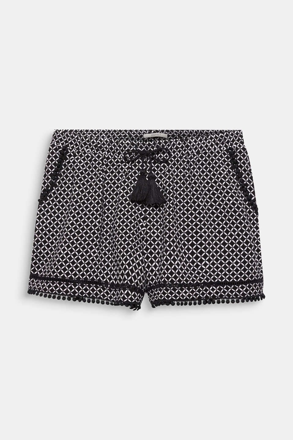Woven shorts with lace details, BLACK, detail image number 2