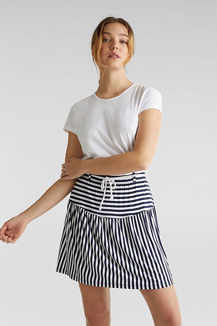 Falda de jersey elástico con cinturón de cordón, WHITE, detail image number 0