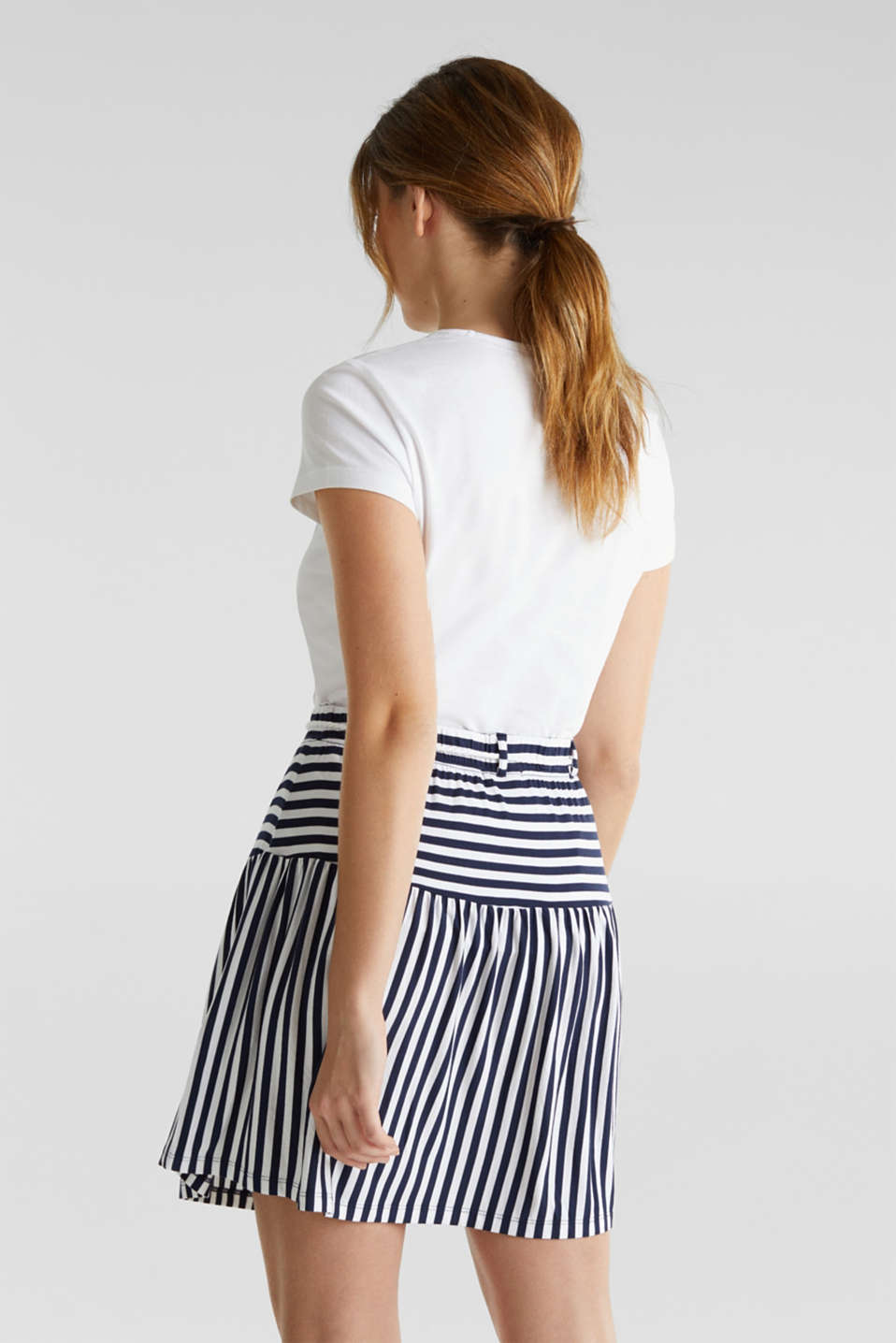 Stretch jersey skirt with a cord belt, WHITE, detail image number 1