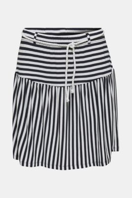 Stretch jersey skirt with a cord belt, WHITE, detail