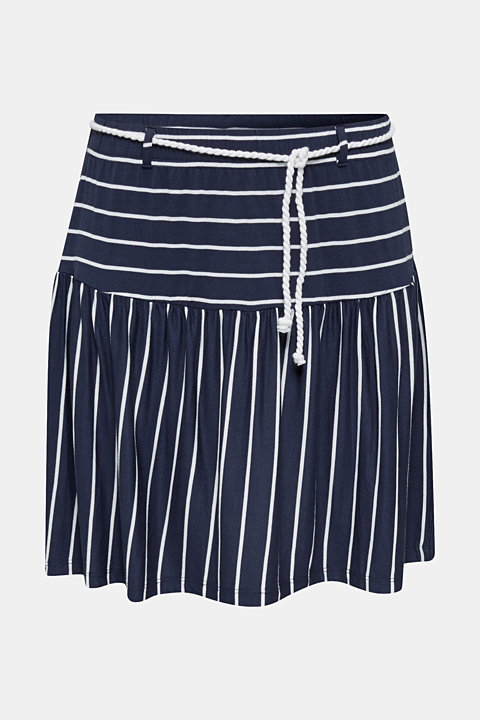 Stretch jersey skirt with a cord belt